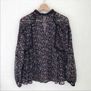 NWT Zara Long Sleeve Sheer Floral Blouse Small